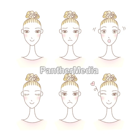 set of womans emotions facial expression