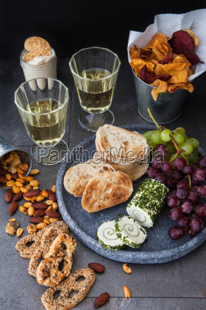 various munchies and wine
