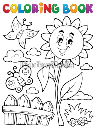 coloring book flower topic 7