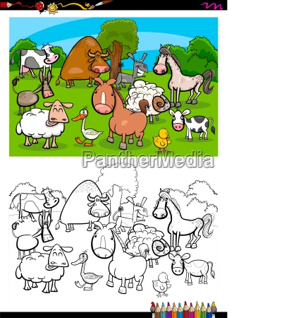 cute farm animals characters group color