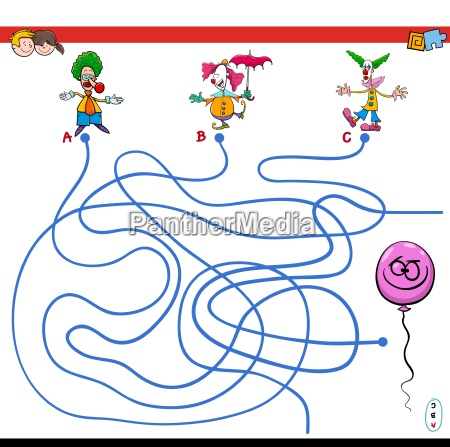 paths maze game with clowns and