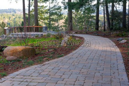 garden stone brick paver walking path