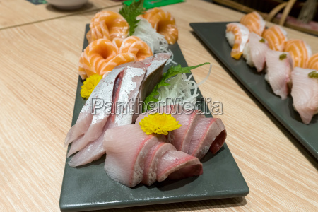 fresh fish sushi sashimi plate closeup