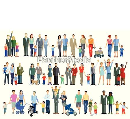 familien generation gruppen illustration