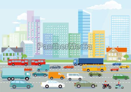 autobahn in der grossstadt illustration