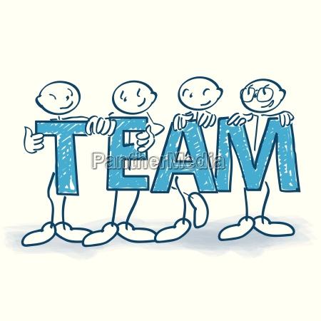 strichmaennchen mit buchstaben als team
