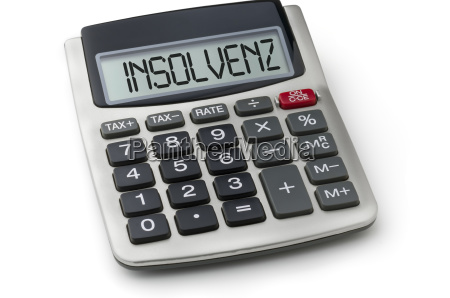 calculator with the word insolvency on