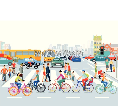 city with road traffic cyclists and