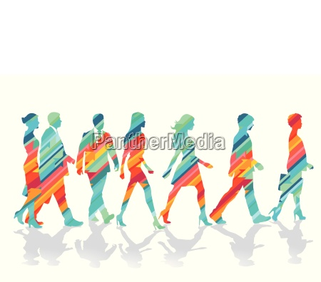 colorful group of people together illustration