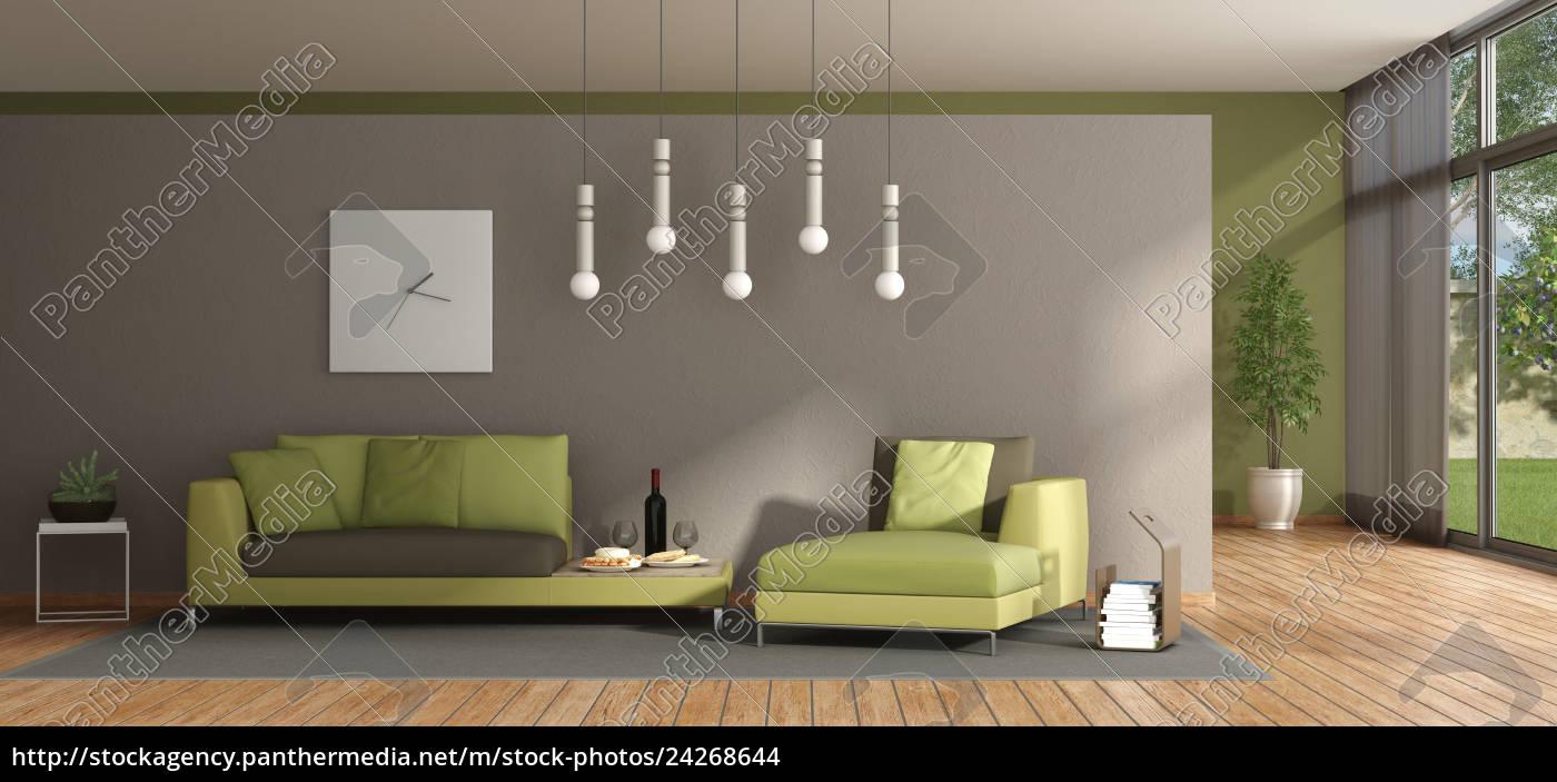 Lizenzfreies Foto 24268644 Minimalistisches Wohnzimmer Mit Grunem Sofa