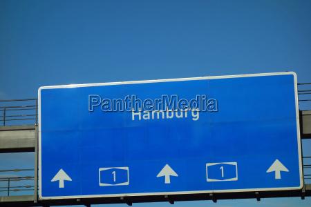 highway sign a1 hamburg