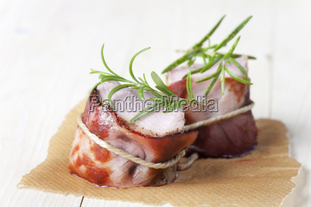 grilled pork with ham wrapped