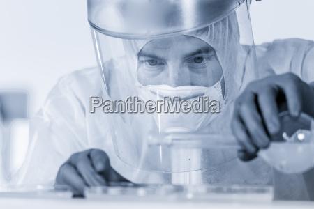 life scientist researching in bio hazard