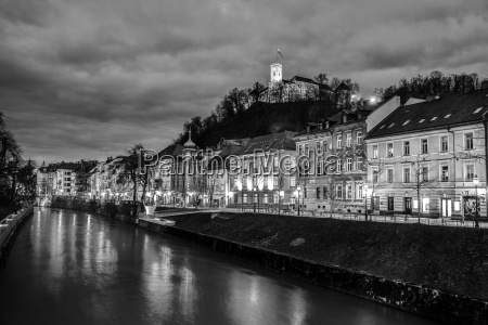 evening panorama of riverfront of ljubljana