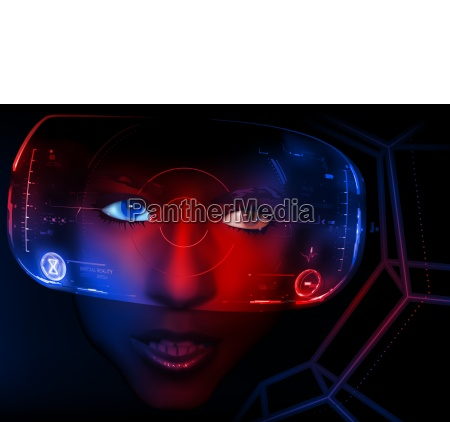 woman face with vr display