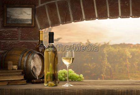 white wine tasting in the cellar
