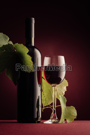 red wine bottle and wineglass