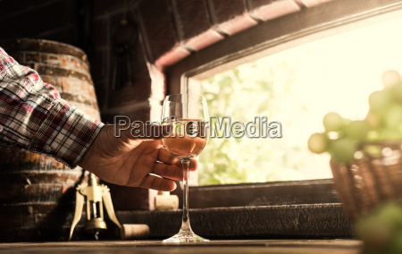 wine expert tasting a glass of