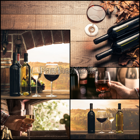 winemaking and wine tasting photo collage