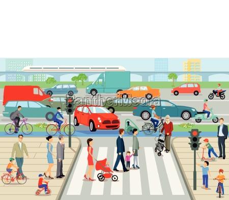 stadt mit fussgaengerueberweg und strassenverkehr