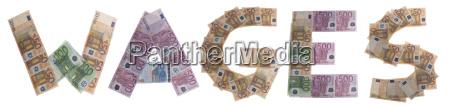 wageslohn buchstaben aus geldscheinen