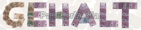 gehalt buchstaben aus geldscheinen