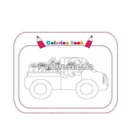 illustration von santa claus auto mit