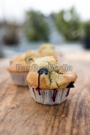 blueberry muffin on a wooden table