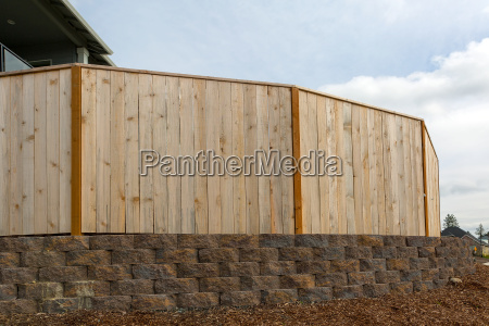 new house backyard wood fence