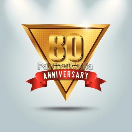 80 jahre jubilaeumsfeier logotyp goldenes jubilaeumsemblem