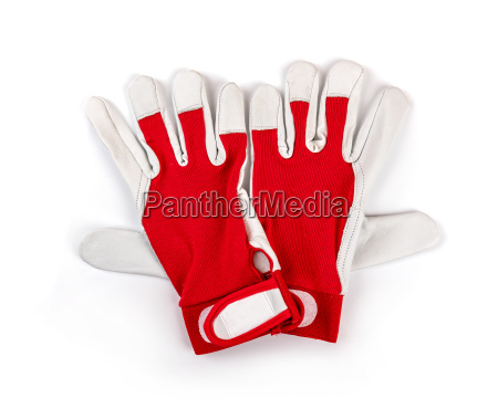 red protective work gloves on white