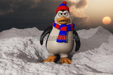 cartoon illustration eines wutend aussehenden pinguins