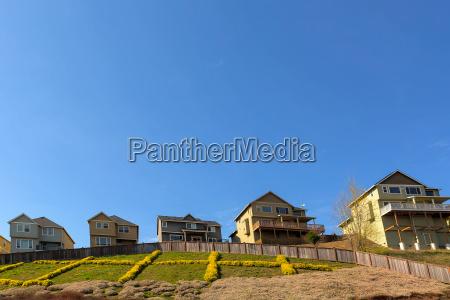 single family homes on hillside in