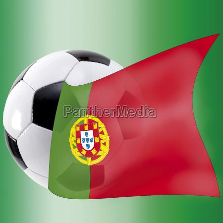 fussball, mit, portugalflagge - 24425502