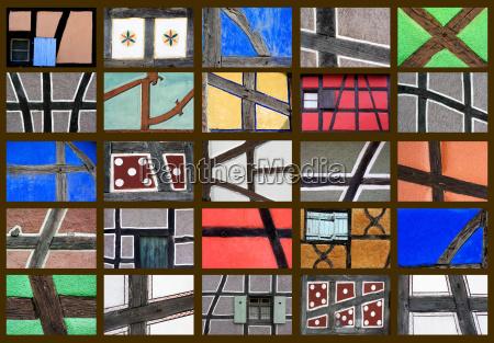fachwerkmotive collage funfundzwanzig einzelaufnahmen