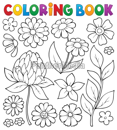 coloring book flower topic 8