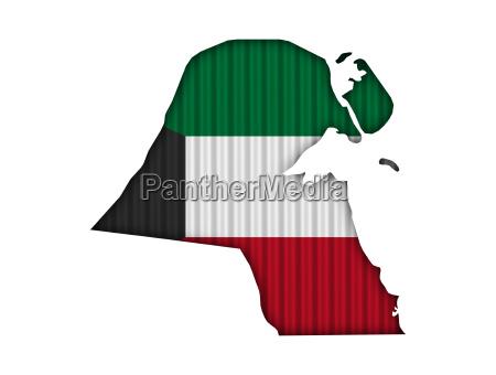 karte und fahne von kuwait auf