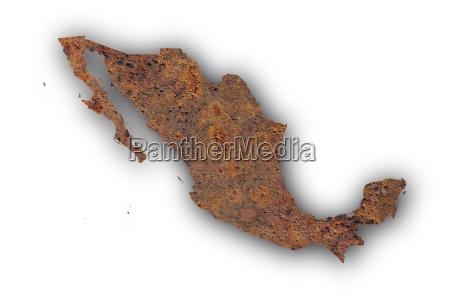 karte von mexiko auf rostigem metall