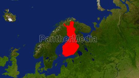 landkarte finnland ist rot hervorgehoben