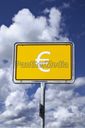 ortschild with euro sign