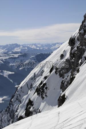 snowy steep slope wilder kaiser mountains