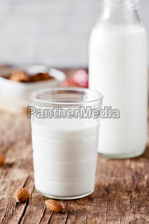 small glass of almond milk