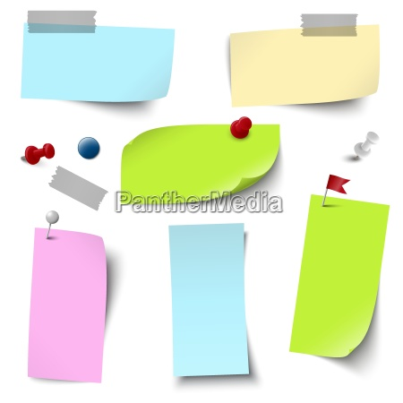empty papers colored with accessories