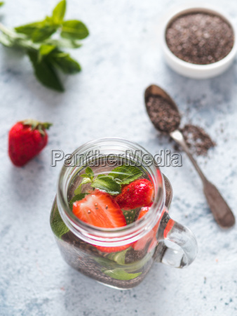 strawberry and mint chia water in