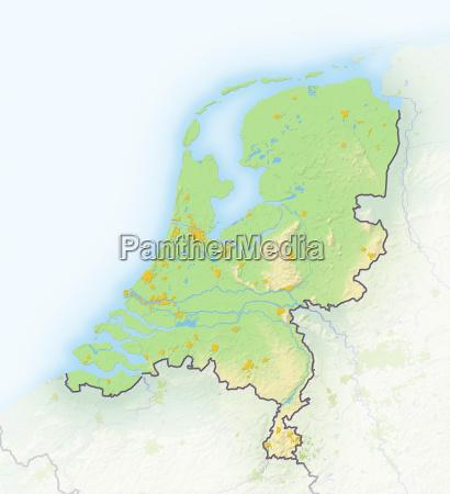 niederlande schattierte reliefkarte europa