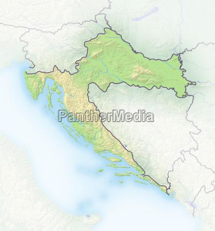 kroatien schattierte reliefkarte europa