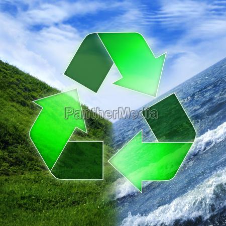 recycling symbol uber den drei elementen