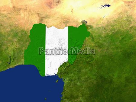 satellitenaufnahme von nigeria wird von der