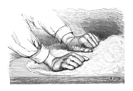 teigkneten historische illustration aus marie