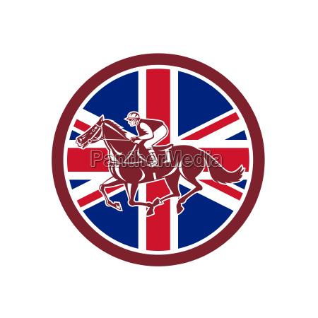 british jockey horse racing union jack